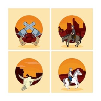 Conjunto de desenhos animados do oeste selvagem