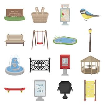 Conjunto de desenhos animados do parque da cidade ícone
