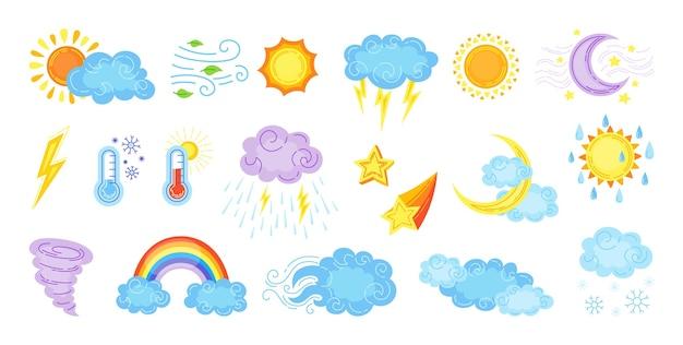 Conjunto de desenhos animados do tempo. sol bonito desenhado à mão e nuvens, chuva ou neve, relâmpago, estrela da lua