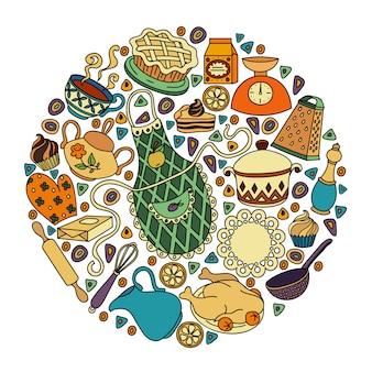 Conjunto de desenhos animados doodle desenhado à mão colorido de objetos e símbolos no tema cozinha