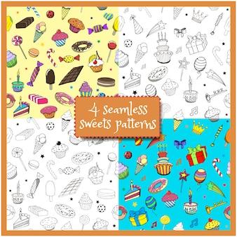 Conjunto de desenhos animados doodles festa de aniversário de mão desenhada e doces padrões sem emenda