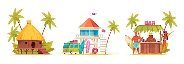Conjunto de desenhos animados e havaí colorido com diferentes bangalôs e balcão de bar