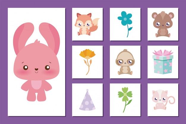 Conjunto de desenhos animados e ícones de coelho do conceito de feliz aniversário