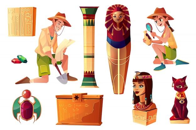 Conjunto de desenhos animados egípcios de vetor - personagens paleontologista e arqueólogo