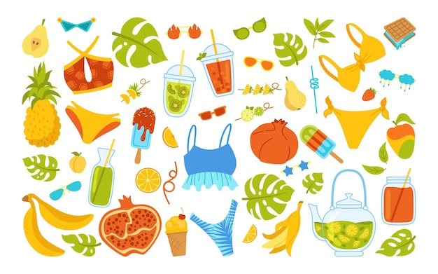 Conjunto de desenhos animados elegantes de verão. comida de verão, biquíni, bebidas, frutas de folhas de monstera