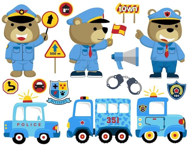 Conjunto de desenhos animados engraçados da polícia com veículos