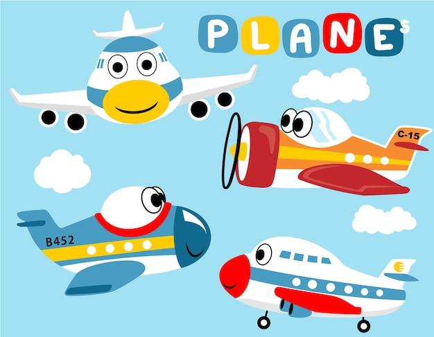 Conjunto de desenhos animados engraçados de avião