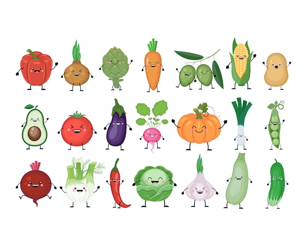 Conjunto de desenhos animados engraçados de vegetais diferentes. legumes kawaii. abóbora sorridente, cenoura, berinjela, pimentão, tomate, abacate, alcachofra, repolho, erva-doce, cebola, alho, pepino, ervilha, batata