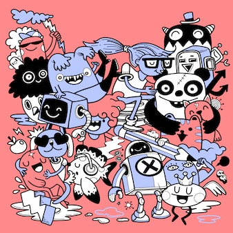 Conjunto de desenhos animados engraçados doodle. ilustração de mão desenhada.