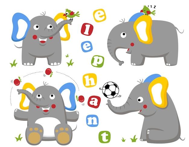 Conjunto de desenhos animados engraçados elefantes