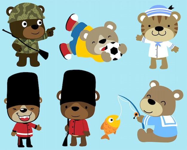 Conjunto de desenhos animados engraçados ursos