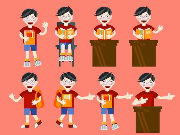 Conjunto de desenhos animados estilo simples de jovem estudante rapaz asiático com livros e sacos