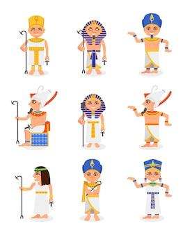 Conjunto de desenhos animados faraós egípcios e rainhas. governantes do antigo egito. homens e mulheres personagens roupas tradicionais e cocares