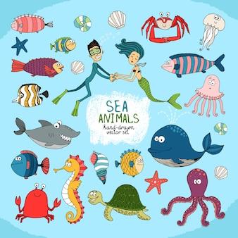 Conjunto de desenhos animados feitos à mão da vida marinha