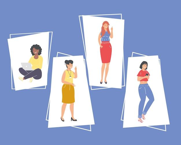 Conjunto de desenhos animados femininos