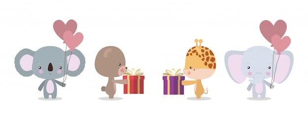 Conjunto de desenhos animados fofo urso coala girafa e elefante