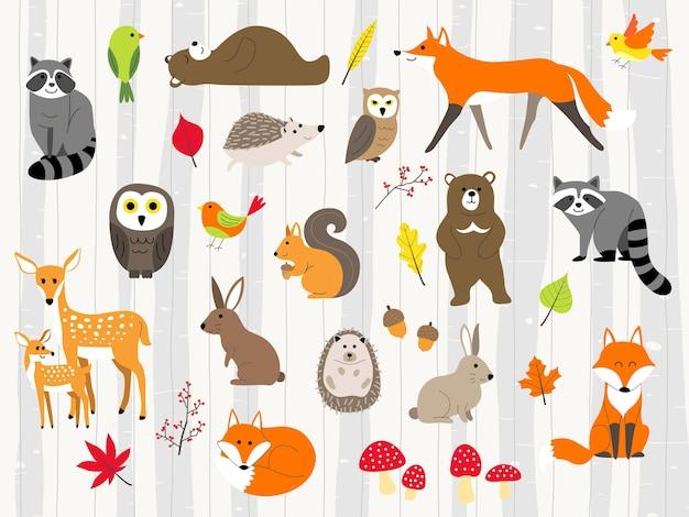 Conjunto de desenhos animados fofos animais selvagens