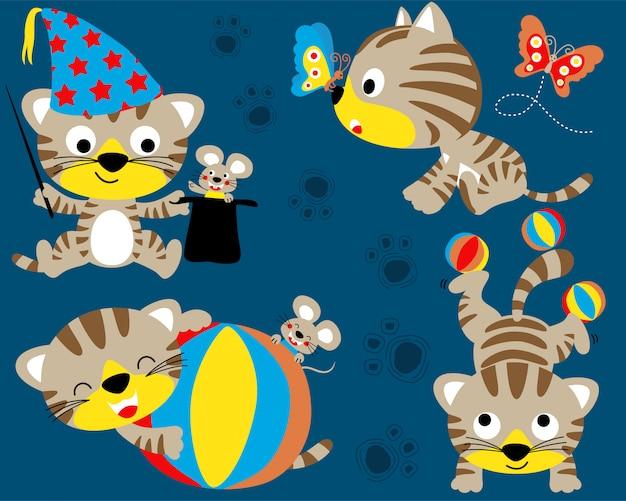 Conjunto de desenhos animados gatinho fofo
