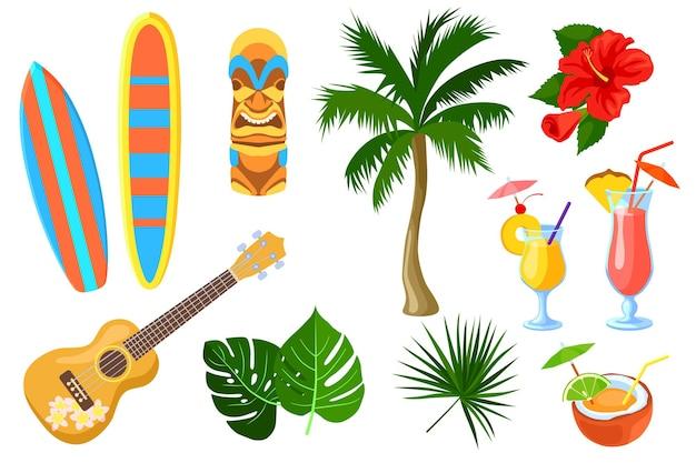 Conjunto de desenhos animados havaianos e símbolos de viagens