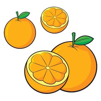 Conjunto de desenhos animados laranja