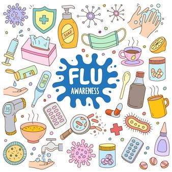 Conjunto de desenhos animados mão desenhada na cor do doodle - consciência da gripe