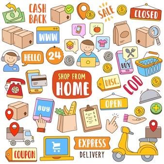 Conjunto de desenhos animados mão desenhada na cor do doodle - loja de casa