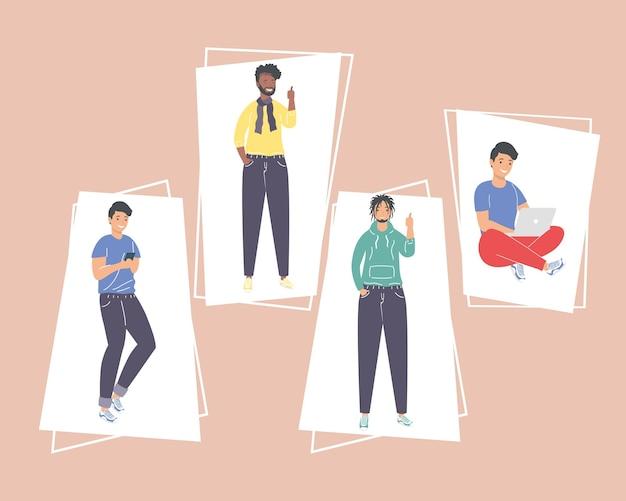 Conjunto de desenhos animados masculinos