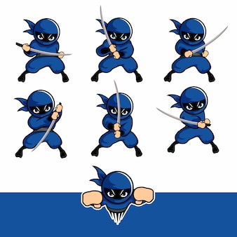 Conjunto de desenhos animados ninja azul com uma espada e voar