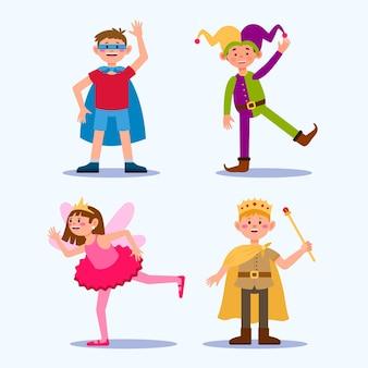 Conjunto de desenhos animados para crianças de carnaval