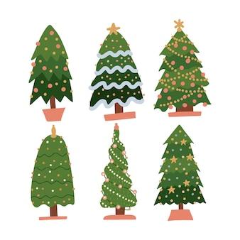 Conjunto de desenhos animados pinheiros de árvores de natal para cartão de convite banner de ano novo e tradições de natal ...
