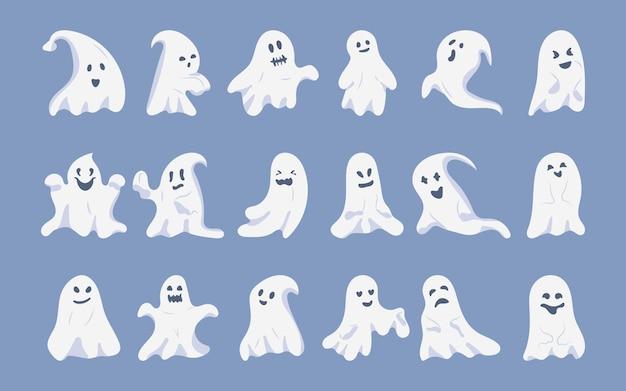 Conjunto de desenhos animados plana de fantasma. monstros fantasmagóricos engraçados assustadores engraçados de halloween. silhueta com rosto, símbolo férias outubro