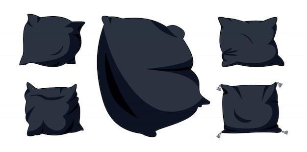 Conjunto de desenhos animados plana travesseiro preto. têxtil interior para casa. almofada cinco macia e escura, para cama, sofá