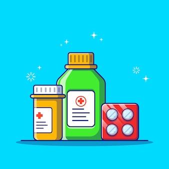 Conjunto de desenhos animados planos de comprimidos médicos e frascos de comprimidos isolado.