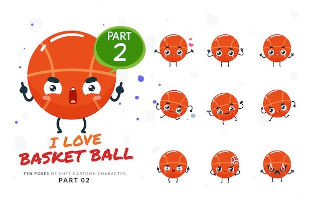 Conjunto de desenhos animados poses de basquete.