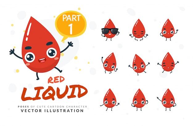 Conjunto de desenhos animados poses de gota de sangue.