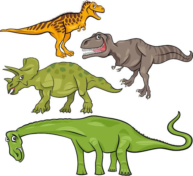 Conjunto de desenhos animados pré-históricos de dinossauros