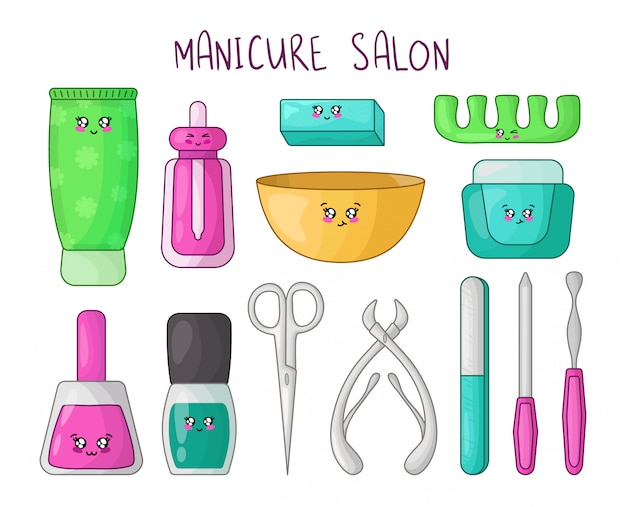 Conjunto de desenhos animados produtos de manicure kawaii