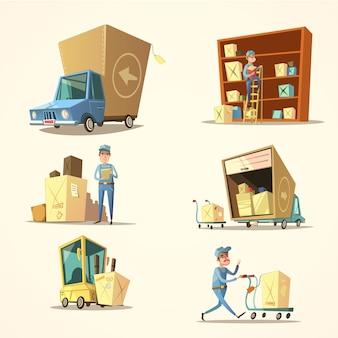 Conjunto de desenhos animados retrô de armazém