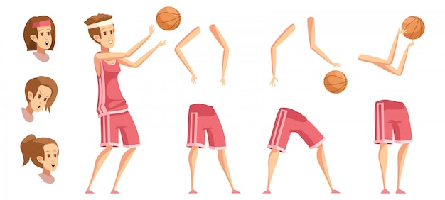 Conjunto de desenhos animados retrô de construtor de desportista