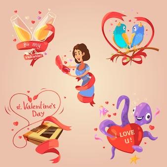 Conjunto de desenhos animados retrô de dia dos namorados