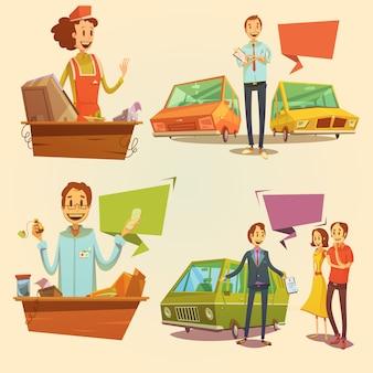 Conjunto de desenhos animados retrô de vendedor