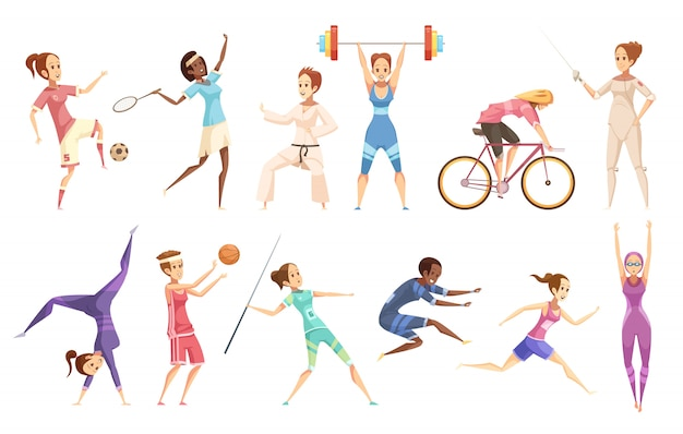Conjunto de desenhos animados retrô desportista de personagens femininas isoladas, fazendo diferentes tipos de esporte em branco
