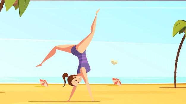 Conjunto de desenhos animados retrô desportista