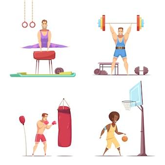 Conjunto de desenhos animados retrô esportista