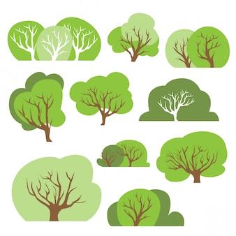 Conjunto de desenhos animados simples bush