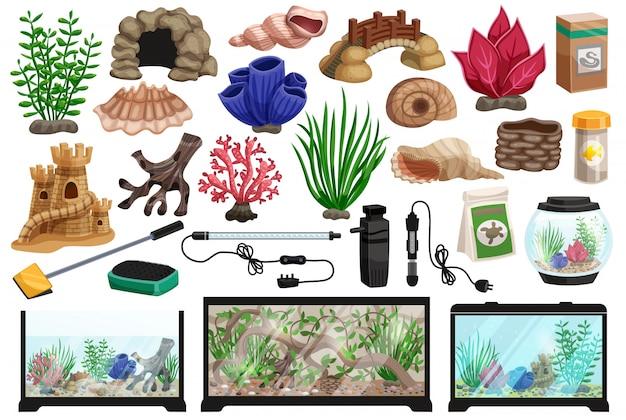 Conjunto de desenhos animados subaquáticos de aquário