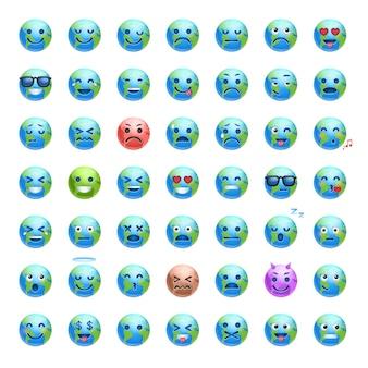 Conjunto de desenhos animados terra enfrenta com emoções diferentes, sorrindo coleção de ícones do planeta