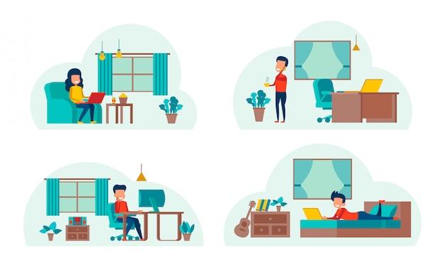 Conjunto de desenhos animados trabalhando em casa