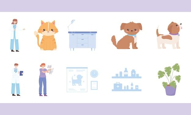 Conjunto de desenhos animados veterinários