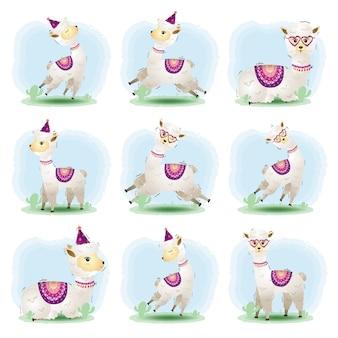 Conjunto de desenhos animados vetor de alpaca bonitinho